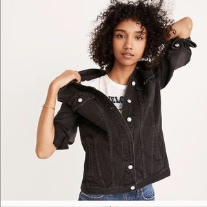 Madewell oversized black denim jean jacket XS